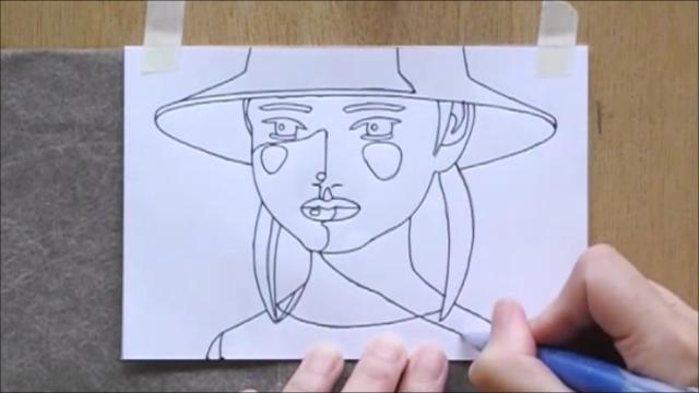 帽子の少女 塗り絵手順1
