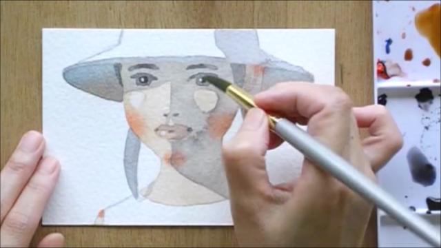 帽子の少女 塗り絵手順11