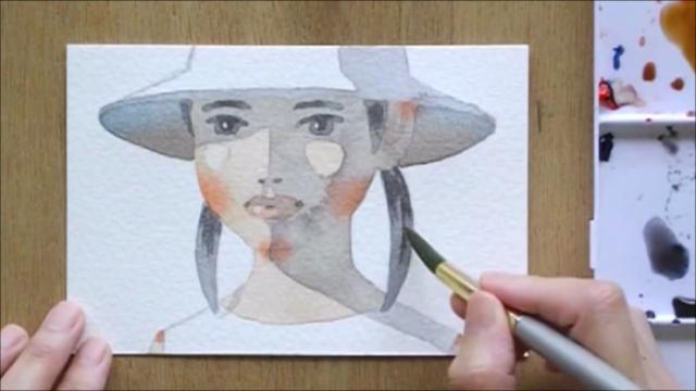 帽子の少女 塗り絵手順12