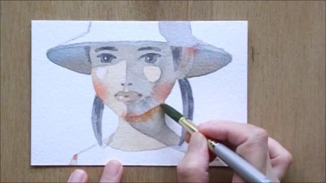 帽子の少女 塗り絵手順13