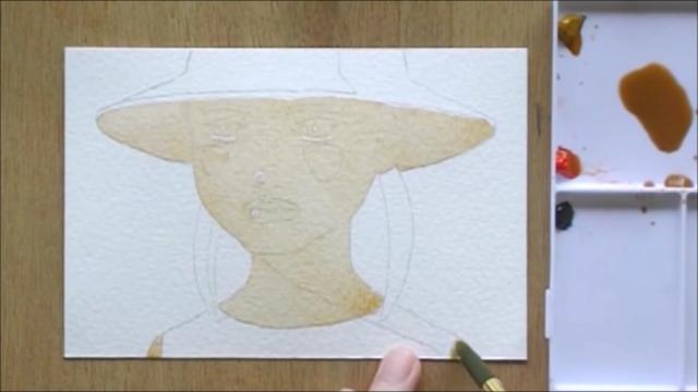 帽子の少女 塗り絵手順3