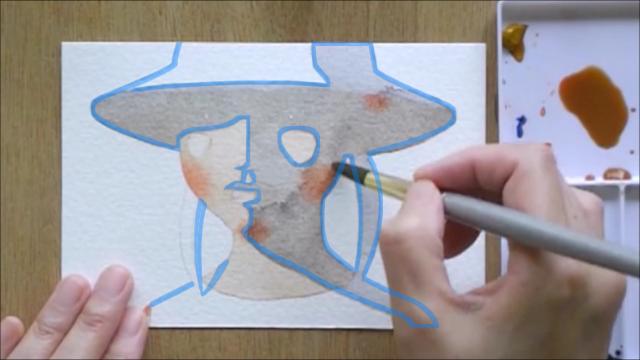 帽子の少女 塗り絵手順7