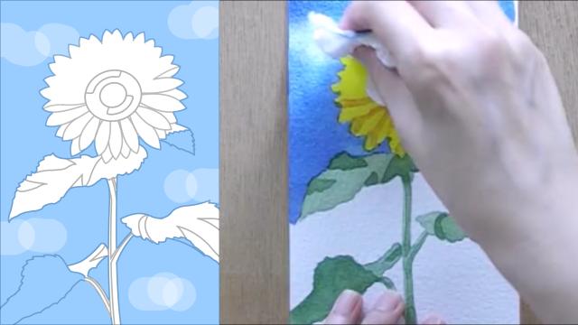ひまわり 塗り絵手順11