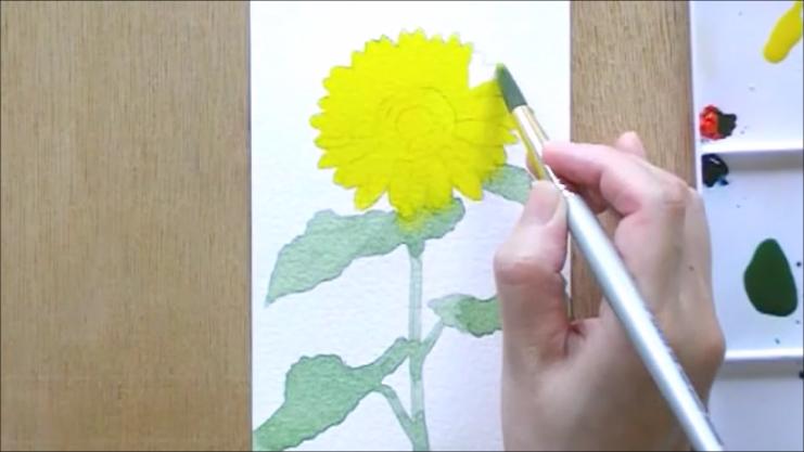 ひまわり 塗り絵手順3