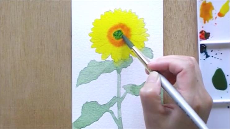 ひまわり 塗り絵手順4