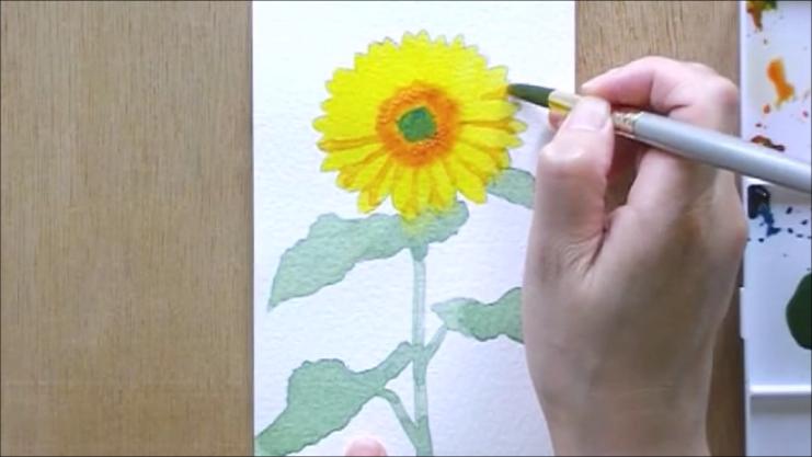 ひまわり 塗り絵手順6