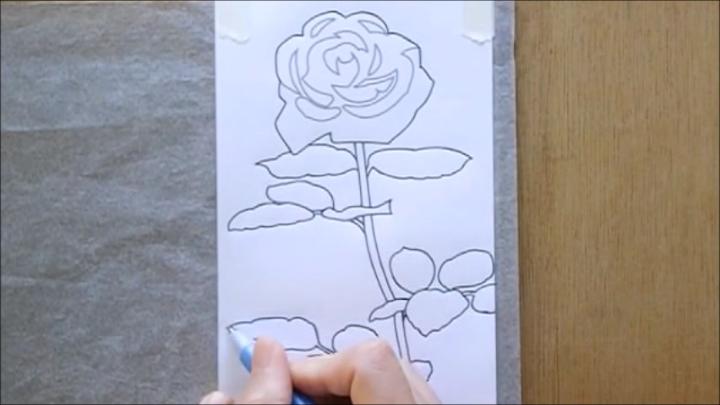 バラ 塗り絵手順1