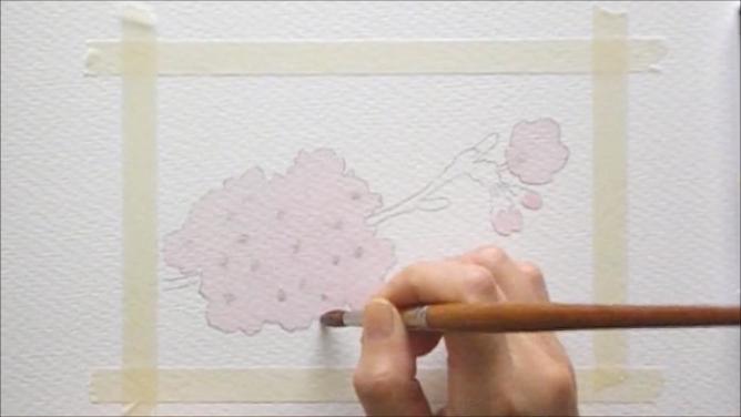 桜 塗り絵手順3